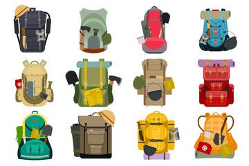 Backpack rucksack travel tourist knapsack outdoor hiking traveler backpacker baggage luggage vector illustration. Wall mural