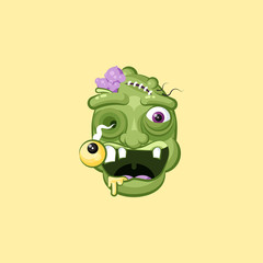 Head, facial expression hungry zombie with rejoicing smiley emotion, emoji, sticker for Happy Halloween in flat style