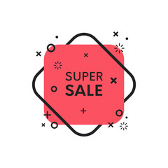 Geometric flat sale discount banner. Trendy shape promo sticker.