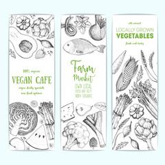 Healthy food banner set. Vegetables, fruits, meat, fish hand drawn. Organic food set, vector illustration. Engraved style
