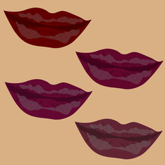 Woman s lip gestures set. Girl mouths close up with red lipstick