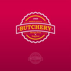 Butchery logo. Logo on a red background as a badge or sign.