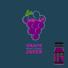 Natural Juice logo. Grape Packaging design. Label.