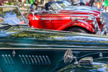Details reto car show on street of the city