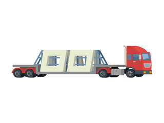 transportation of reinforced concrete slabs. A large truck carries concrete slabs.