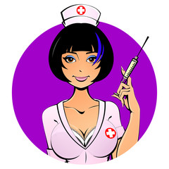 Sexy Asian nurse with a syringe for a shot. Avatar, icon. For adults.