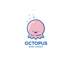 Octopus fun logo. Baby and kids goods. Kawaii baby octopus on white background.