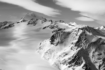 Wildspitze in Tirol in schwarzweiss