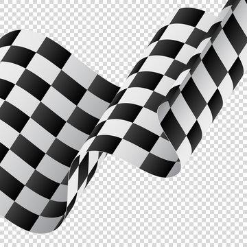 Waving checkered flag on transparent background. Racing flag. Vector illustration.