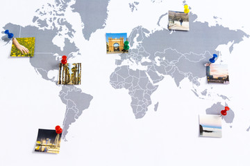 Map of the world with photos