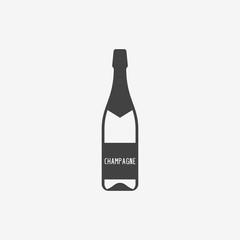 Champagne bottle monochrome icon. Vector illustration.