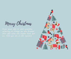 Christmas, New Year background with Christmas tree