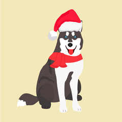 Background with holiday husky. Perfect for the year of the dog