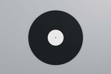 Vinyl record on gray background