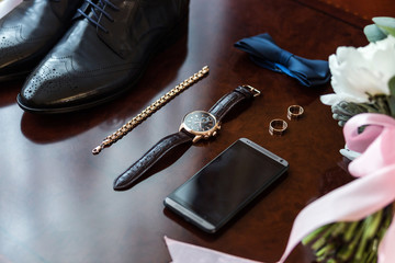 bow tie,shoes,wedding rings ,telephone,clock,bride's bouquet,the groom morning,businessman, wedding, man fashion, men's Accessories