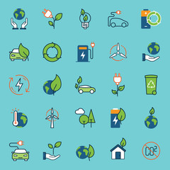 color ecology icons set