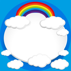 Background design with rainbow in blue sky