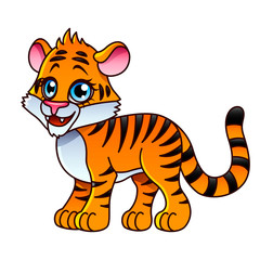 Cartoon tiger isolated vector illustration