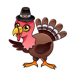 Cartoon turkey isolated vector illustration
