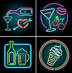 Neon light design for food and beverage