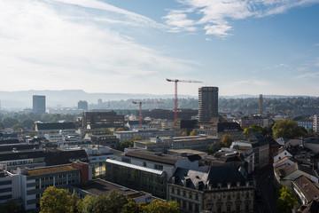 Basel switzerland cityscape at morning year 2017