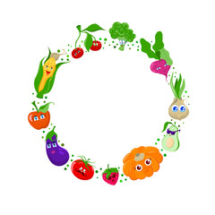 Funny cartoon fruit and vegetables vector frame, background template