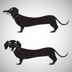 Two cute dachshund dogs, silhouette, logo, vector illustration