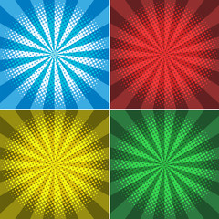 Four backgrounds with beam lights on different color wall