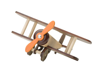 Wooden toy airplane isolated on white. Wooden children's toy. Ecology.