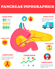 Infographic poster with pancreas illustration.