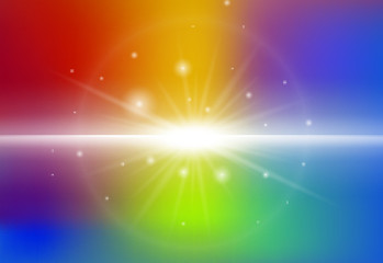 Background design with beam light on rainbow background
