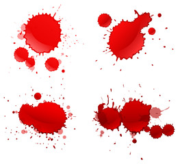 Four splashes of red color