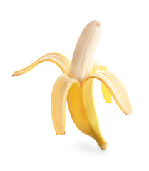 Ripe banana on white background