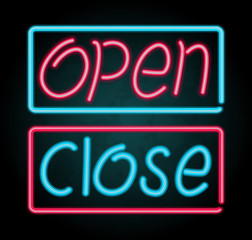 Neon sign for open and close