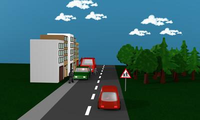 Straße mit Autos zwischen denen Kinder auf die Straße rennen. Mit dem deutschen Gefahrenzeichen Kinder.