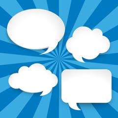 Four blank speech bubbles on blue background