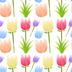Seamless background with colorful tulip flowers