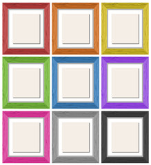 Picture frames in nine different colors