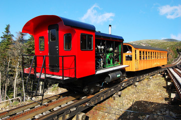 Mount Washington Cog Railroad at the top of Mount Washington in White Mountain in fall, New Hampshire, USA.