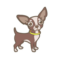 Cute cartoon toy terrier, isolated on white, small dog vector illustration
