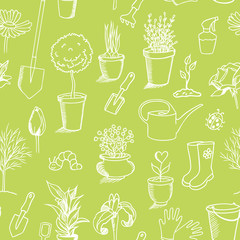 gardening sketch seamless pattern, green background