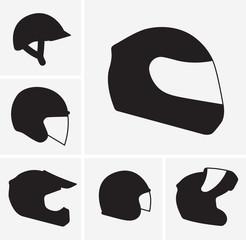 Motorcycle helmets vector silhouette