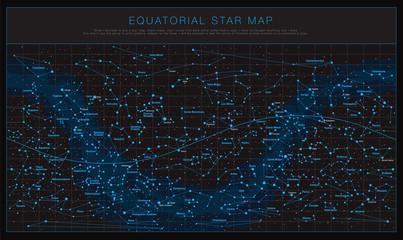 High detailed sky maps vector set
