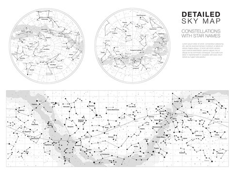 High detailed sky maps vector set