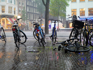 Rain, wet sidewalk, bicycles, Amsterdam