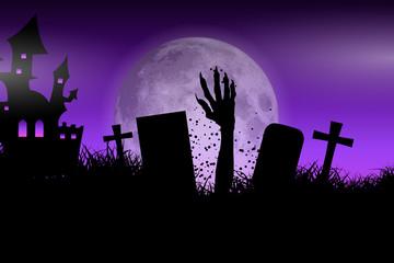 Fototapete - Zombie hand in Halloween landscape