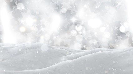 3D close up of snow on a silver starry background