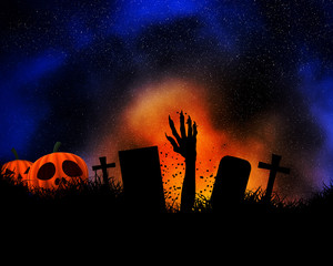 Fototapete - Halloween background with zombie hand bursting out of the ground