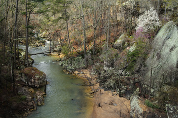 The gorge and creek during late winter below Noccalula Falls in Gadsden, Alabama, USA