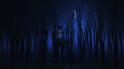 Fototapete - 3D evil creature in the woods at night